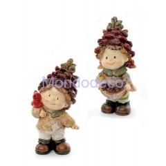 I folletti della quercia - Coppia Bimbi pigna in piedi di resina adatti alla decorazione