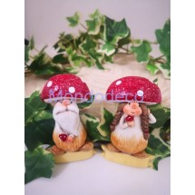 I folletti della quercia - Coppia gnomi fungo adatti alla decorazione