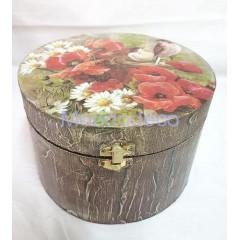 Cofanetto tondo in legno con effetto corteccia decorata a mano