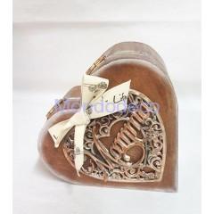 Porta gioia in legno con cuore Mamma intarsiato in gesso resinato fatto a mano