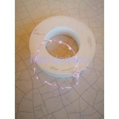 Cordoncino - Passamaneria filo metalico rosa e bianco adatta alle ns crezioni