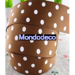 Cordoncino  - Nastro gros grain color marrone pois bianchi adatto alle ns decorazioni