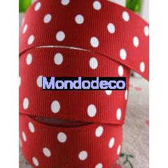 Cordoncino  - Nastro gros grain color rosso pois bianchi adatto alle ns decorazioni