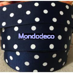 Cordoncino  - Nastro gros grain color blu notte pois bianchi adatto alle ns decorazioni