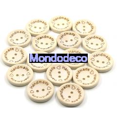 Bottoni in legno naturale  laserati HANDEMADE - N.5  pz. adatto alla ns decorazioni