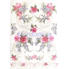 Carta di riso disegnata per decoupage con fiori e Fregi cod. 275