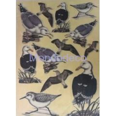 Carta di riso disegnata per decoupage con uccelli