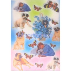 Carta di riso disegnata per decoupage con bimbi e cani