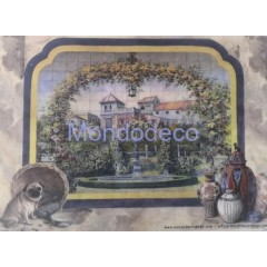 Carta di riso disegnata per decoupage con paesaggio