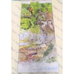 Carta di riso disegnata per decoupage paesaggio con ponte