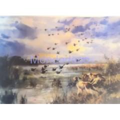 Carta di riso disegnata per decoupage con paesaggio di caccia