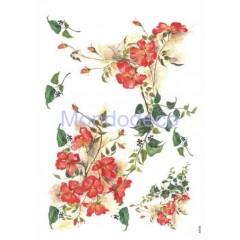 Carta di riso disegnata per decoupage con fiori rossi