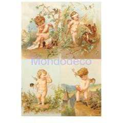 Carta di riso disegnata per decoupage con  Little Angels RP72