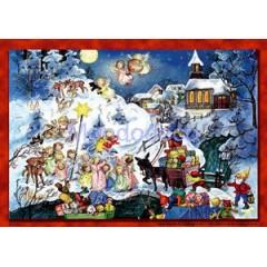 Carta di riso disegnata per decoupage con paesaggio Natale