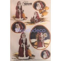 Carta di riso disegnata per decoupage con Babbo Natale