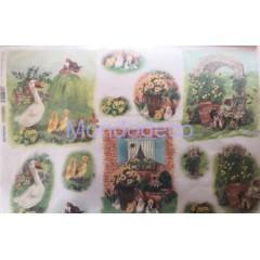 Carta di riso disegnata per decoupage con Animali della fattoria