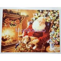 Stampa Natalizia con Babbo Natale e gatto adatto alla tecnica del Tiling o per il decoupage
