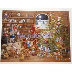 Stampa Natalizia con La stanza dei giocattoli di Babbo Natale adatto alla tecnica del Tiling o per il decoupage