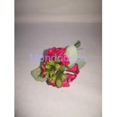 Mazzo di roselline e boccioli color rosso/bordeaux con foglioline da 11 pz.