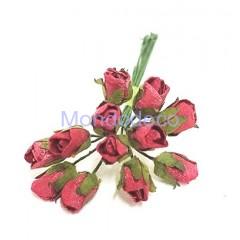 Mazzo di roselline color rosso da 12pz.