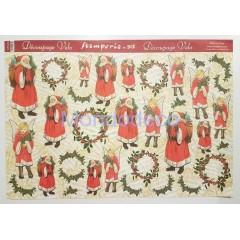 Carta velo per decoupage con Angeli e Babbo Natale su texture note musicali DFV140