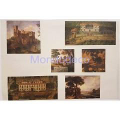 Carta per decoupage con paesaggi di castelli e cascine