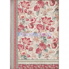Carta di riso disegnata per decoupage con Fiori rossi  DFSA3040