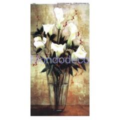 Carta di riso disegnata per decoupage striscia con  vaso di calle F024X1