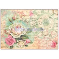 Carta di riso disegnata per decoupage con Post card con rose DFS309