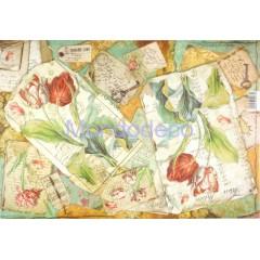 Carta di riso disegnata per decoupage conFlower Tulips DFS375