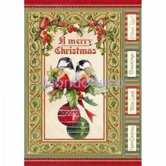 Carta di riso disegnata per decoupage formato A4 Christmas vintage Birds and Spheres DFSA4340
