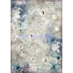 Carta di riso disegnata per decoupage formato A4 Cosmos astrale DFSA4386