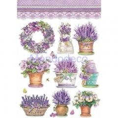 Carta di riso disegnata per decoupage formato A4 Lavender Vase DFSA4456