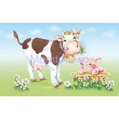 Carta per Decoupage -  Decoupage 3D con mucca e maialino DF3D002A