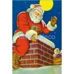 Carta per Decoupage -  Decoupage 3D con Babbo Natale sul caminetto DF3D017A