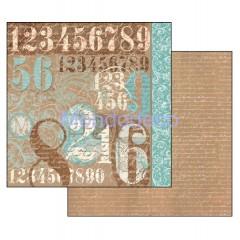 Foglio Double Face - Carta per Scrapbooking  Typografia Numeri SBB314
