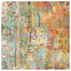 Tovagliolo in carta di riso disegnata per decoupage texture Time is an Illusion Rust effect  DFT326