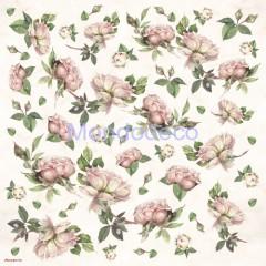 Tovagliolo in carta di riso disegnata per decoupage con rose DFT118