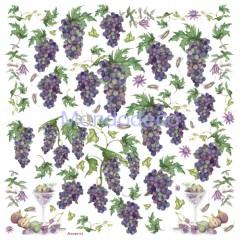 Tovagliolo in carta di riso disegnata per decoupage con uva DFT130