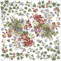 Tovagliolo in carta di riso disegnata per decoupage con fiori rossi, melograno ed edera DFT145