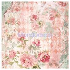 Tovagliolo in carta di riso disegnata per decoupage  Dream roses orchidea bianca DFT318