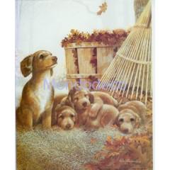 Carta di riso disegnata per decoupage con cagnolini e cuccioli