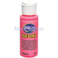 Americana Neon Fluorescente Acrilico dipingere 2 Once-frizzante Rosa - Fiery Red  59 ml.