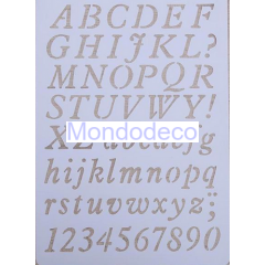 Stencil  con lettere alfabeto maiuscolo e minuscolo