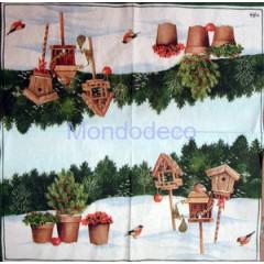 Tovagliolo per decoupage con paesaggio invernale e casette uccellini