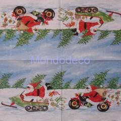 Tovagliolo per decoupage con babbo Natale in moto e slitta
