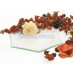 Piatto in vetro ecologico liscio esagonale sagomato a caldo adatto al decoupage