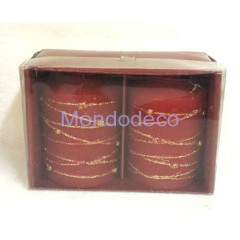 Set di due candele tonde color rosso con fregi color oro glitterato